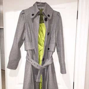 Steve Madden Wool Blend Gray Trench Coat Size M